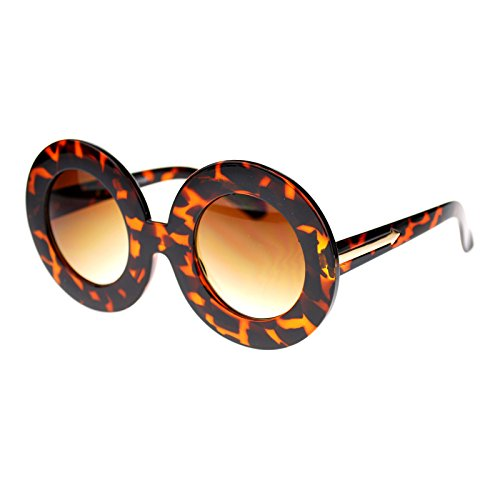 Round Thick Plastic Nerdy Comic Circle Arrow Designer Sunglasses Red - Nerdy Glasses Thick