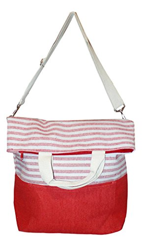 Striped 2 Way Carry Fashion Beach Tote Bag (Red)