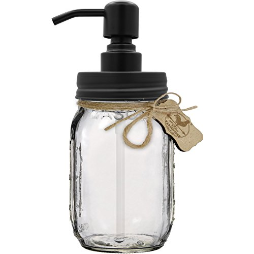 Premium Home Quality Premium Rustproof 304 18/8 Stainless Steel Mason Jar Soap Pump/Lotion Dispenser Kit Includes 16 oz (Regular Mouth) Glass Mason Jar ()
