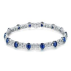 White Gold Diamond Sapphire Bracelet