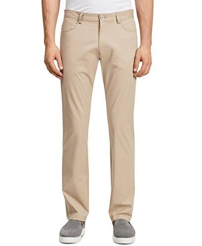 Calvin Klein Men's Slim Fit 4-Pocket Stretch Sateen Pant, Classic Khaki, 32W 32L (Calvin Klein Khaki Pants)