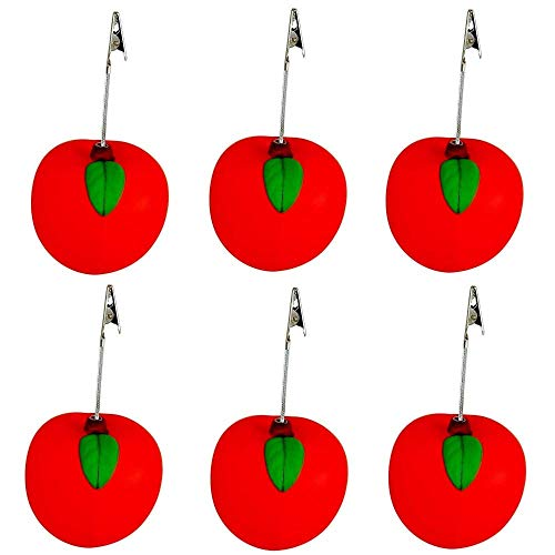 (Red Apple Shaped Stress Relief Ball with Alligator Clip Memo/Card Holder - Lot of 6.)