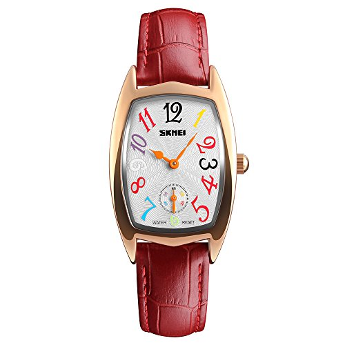 Women's Quartz Watch, Ladies Waterproof Watches with Leather Band Colorful Number Analog ()