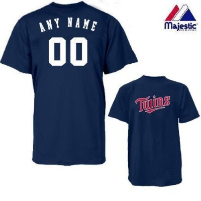 Majestic Athletic Minnesota Twins Personalized Custom (Add Name & Number) Adult Large 100% Cotton T-Shirt Replica Major League Baseball - Custom Mlb Replica Jerseys Majestic