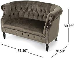 Christopher Knight Home Milani Tufted Scroll Arm Velvet Loveseat Grey Dark Brown Furniture Decor Amazon Com