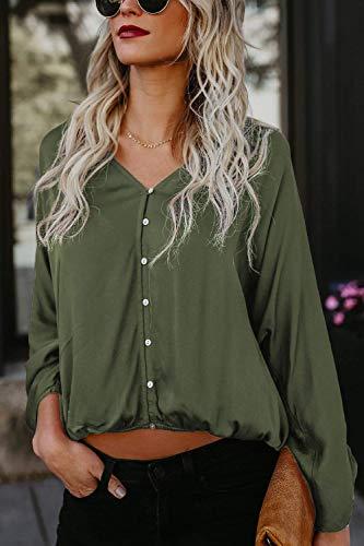 V Chemisier Casual Cou Unie Elgante Shirt Grande Vert Couleur Femme Mode Boutonnage Taille Manches Haut Simple Tops Longues Printemps Bouffant Chic Automne Blouse HnHtSq