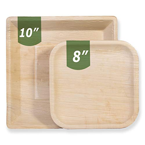 Mattai Palm Leaf Disposable Plates, Biodegradable & Compostable - Organic Sustainable BPA-Free Dinnerware | Plastic, Bamboo & Wood Alternative for BBQs, Parties, Weddings & Events (25 Pack)...(8 inch)