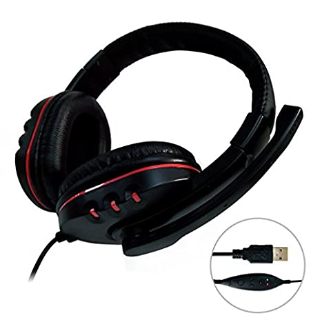 USB Gaming Headset Stereo Surround Sound Noise Canceling Volume Control Video Game Headphone With (Usb Headset Noise Cancelling)