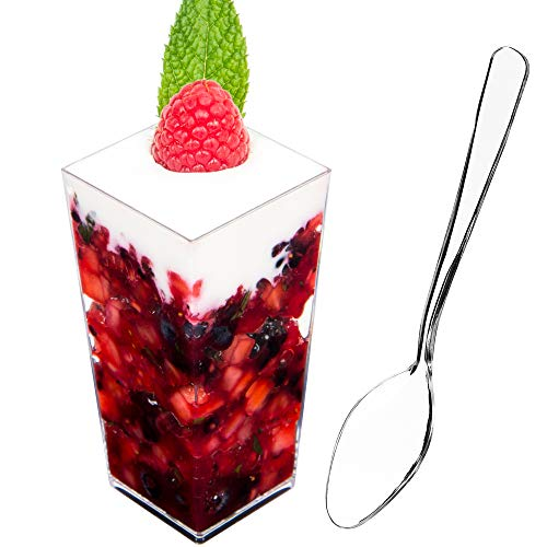 DLux 100 x 3 oz Mini Dessert Cups with Spoons, Square Tall - Clear Plastic Parfait Appetizer Cup - Small Disposable Reusable Serving Bowl for Tasting Party Desserts Appetizers - With Recipe Ebook -