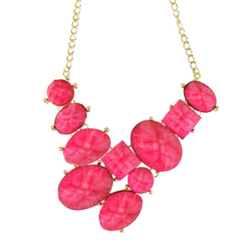 Wrapables Faceted Resin Bubble Bib Statement Necklace - Pink