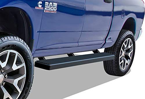 "APS iBoard Running Boards 6"" Matte Black Custom Fit 2009-2018 Ram 1500 Crew Cab Pickup 4Dr (Incl. 2019 Ram 1500 Classic)& 2010-2019 Ram 2500/3500 (Nerf Bars 