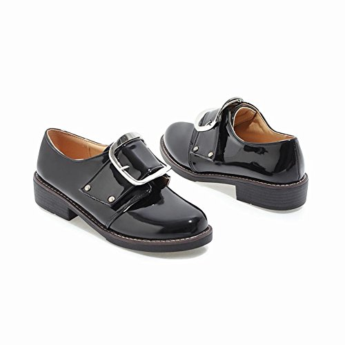 afc02d5797a1e ... Carolbar Women's Western Concise Mid Heel Buckle Casual Shoes Black  WCtWF ...