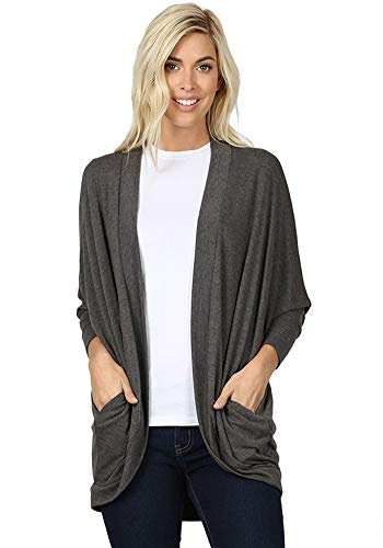 12 Ami 3/4 Sleeve Jersey Knit Cocoon Wrap Pocket Long Cardigan Charcoal L