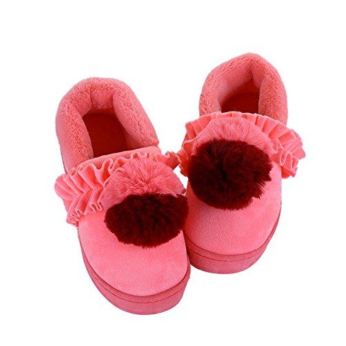 Cybling Womens Winter Pluche Warme Anti-slip Indoor Outdoor Huis Slippers Zachte Zool Roze