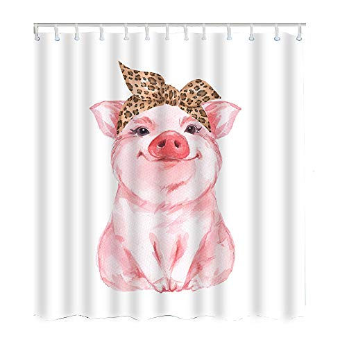 Moslion Pig Shower Curtain Set Farm Animal Funny Cute Piggy Wearing Leopard Bandana Shower Curtains Home Decorative Waterproof Polyester Fabric Hooks 72x72 - Shower Pigs Curtain