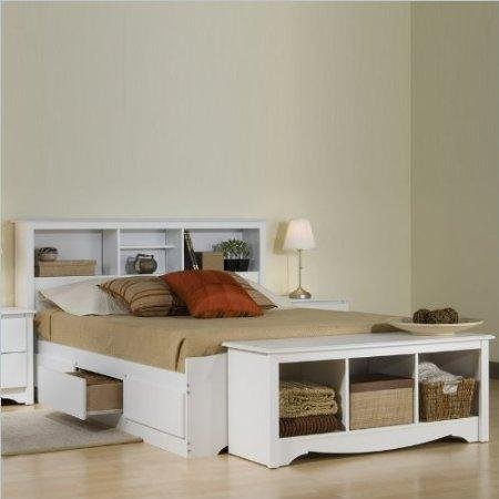 (Prepac Monterey White Queen Bookcase Platform Storage Bed )