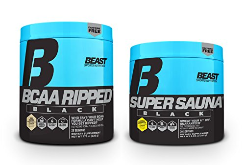 Beast Sports Nutrition BCAA Ripped Black Iced Coffee 20 Servings & Super Sauna Black Lemon Dropkick 30 Servings: Powerful, Stimulant-Free, Metabolism Boosting, Fat-Burning, Muscle Building Bundle -