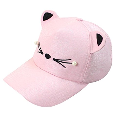 AMA(TM) Cat Ears Cap Fashion Tide Pearl Women Baseball Caps Cute Mini Cat Hats (Pink) ()