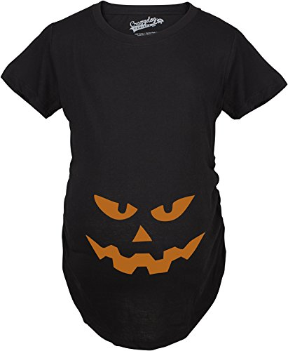 Maternity Triangle Nose Pumpkin Face Halloween Pregnancy Announcement T Shirt (Black) XL ()