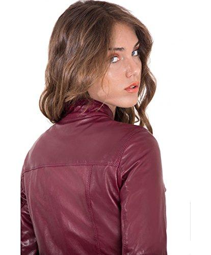 Giulia D'arienzo Bordeaux Couleur Vintage Veste Cuir Aspect D'agneau En Pqdq7xrw