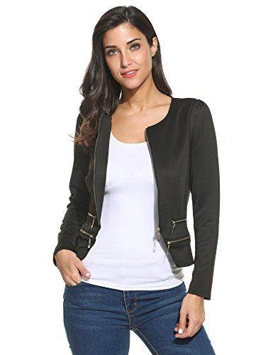 Zeagoo Women's Casual Zipper Cardigan Blazer O Neck Slim Fitted Office Jacket,Black,Medium