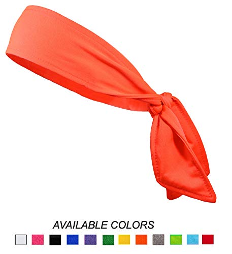 Headbands Tie on Headband for Women Men Running Athletic Hair Head Band Elastic Sports Sweat Basketball Sweatband Stetchy Yoga Workout Sweatbands Adjustable Non-Slip Moisture Wicking (Neon Orange) ()