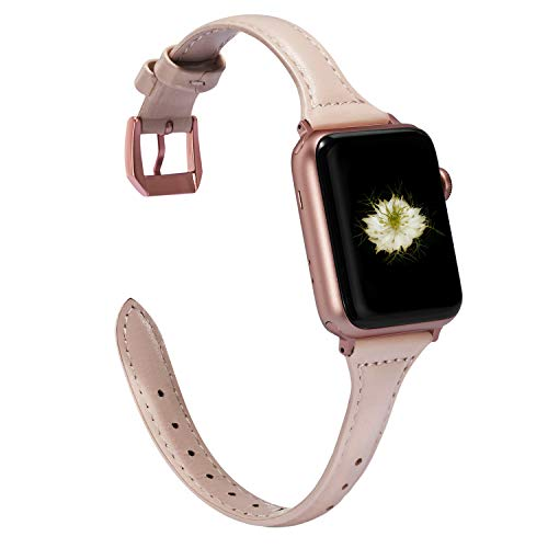 Wearlizer Nude Pink Thin Leather Compatible with Apple Watch Band 38mm 40mm iWatch Womens Slim Sport Strap Replacement Wristband Leisure Small Bracelet (Rose Gold Metal Clasp) Series 4 3 2 1 Edition ()