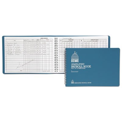 Dome - Includes Calendar of Tax Form Due Dates Light Blue Vinyl Cover Simplifies payroll record keeping Simplified Payroll Record 7 1//2 x 10 1//2 Pages Dome Products Sold As 1 Each - Quarterly and yearly summaries - Seven columns for deductions