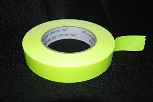 1 Inch UV Yellow Blacklight Reactive Fluorescent Artist Tape 1 Roll x 60 Yards