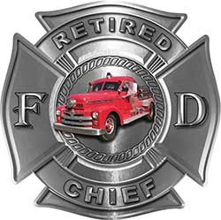 (Retired Chief Officer Fire Department Maltese Cross Firefighter Decal with Antique Fire Truck in)