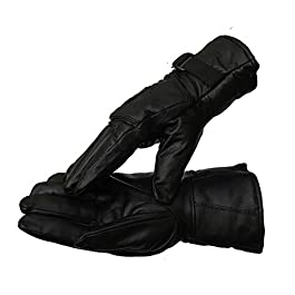 DHISHUM Leather Winter Safety Bike Riding Anti Slip Snow Protective Gloves (Black, Free Size)