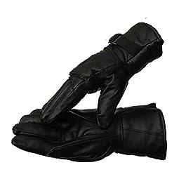 DHISHUM Leather Winter Safety Bike Riding Anti Slip Snow Protective Gloves (Black, Free Size)