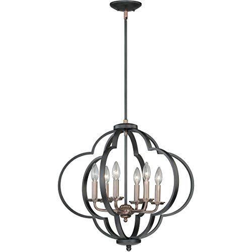 Pendants 6 Light Fixtures with Muted Copper and New Bronze Finish Steel Material Candelabra 23