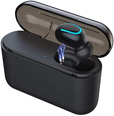 Eleproof Bluetooth Earpiece, Bluetooth 5.0 Wireless Earbud 100-Hour Playing Time Mini Single Bluetooth Earbud with Portable Charging Case Invisible Car Bluetooth Headset for Hands-free Calls One Pcs