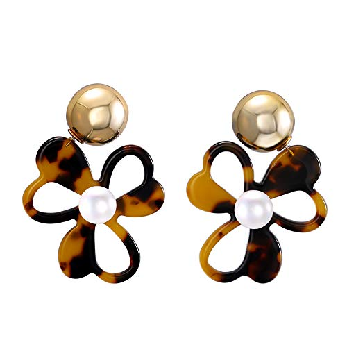 (LILIE&WHITE Tortoise Shell Flower Stud Earrings with CCB and Pearl Acrylic Jewelry Resin Earrings for Women Teen Girls Boho Earrings Statement Stud Earrings )