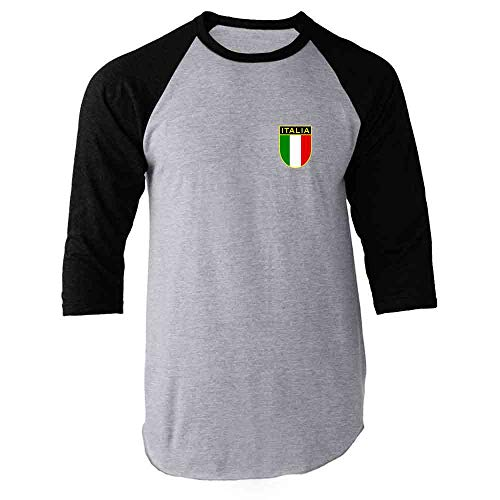 Italy Soccer Retro National Team Black S Raglan Baseball Tee Shirt