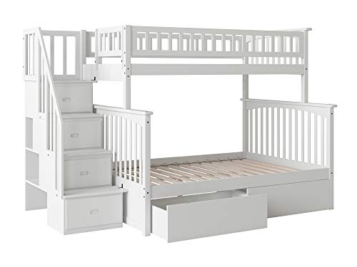Columbia Staircase Bunk Bed with 2 Flat Panel Bed Drawers, Twin Over Full, White