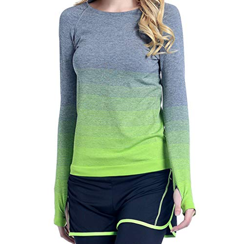 Keliay Womens Tops for Summer,Women's Gradual Color Sports Women's Running Fast Dry Yoga Clothes Fitness Tops Green