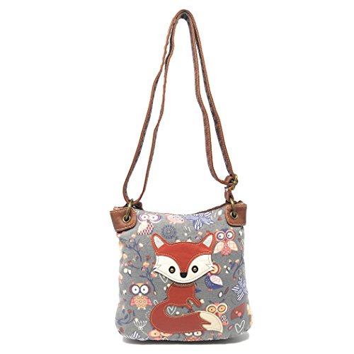Print Canvas Cross Body (Grey Small Crossbody Cute Fox and Owl Print Bag, Faux Leather Long Strap Purse)