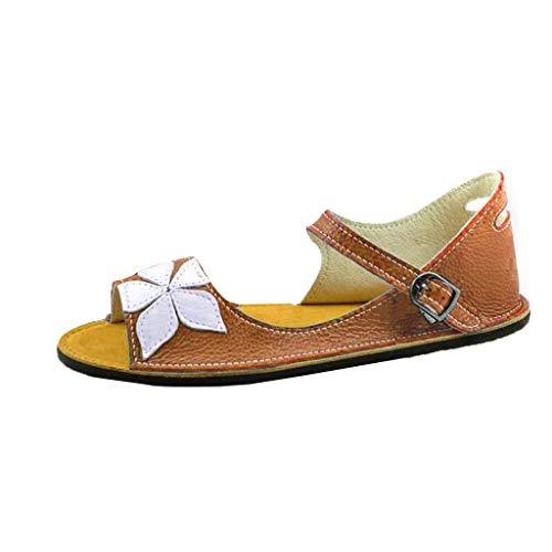 cbe414cef Women Side Cutout Sandals Asymmetrical Sandal Flower Open Toe Flat Shoes  Mary Jane Vintage Slippers by