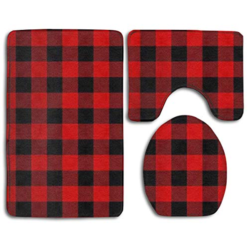 Bath Mat Sets Buffalo Plaid Red Checkered Contour Rug U-Shaped Toilet Lid Cover,Non Slip,Machine Washable,3-Piece Rug Set Easier to Dry for Bathroom