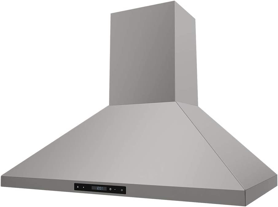 "Thor Kitchen 36"" Wall Mount Chimney Range Hood in Stainless Steel with LED Lights Touch Control with Display and Remote Control HRH3607"