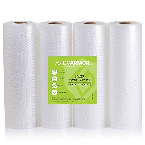 "8"" x 25' Vacuum Sealer Bags Rolls 4 Roll Pack for Food Saver"