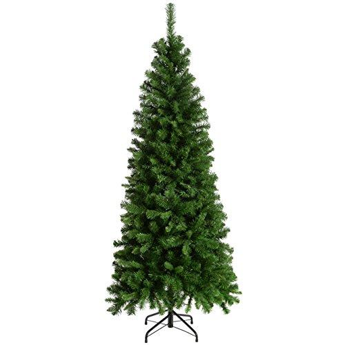 WeRChristmas-Pre-Lit-Slim-Christmas-Tree-with-200-White-LED-Lights-6-ft18-m-Green
