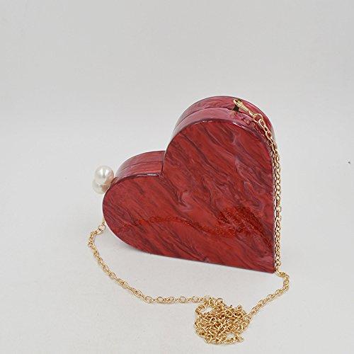 Mogor Acrylic Heart Shape Evening Bags Purses Clutch Vintage Banquet Handbag