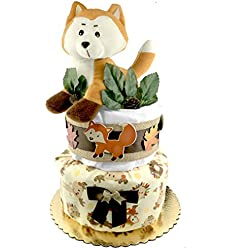 Woodland Creatures Diaper Cake - Baby Shower Gift - Gender Neutral - Fox