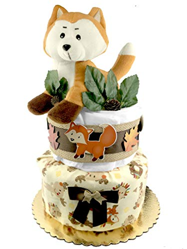 Woodland Creatures Diaper Cake - Baby Shower Gift - Gender Neutral - Fox from Sunshine Gift Baskets