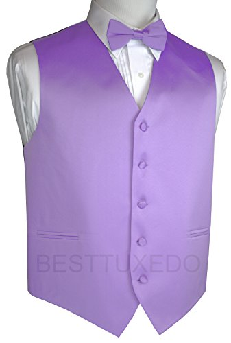 Brand Q Men's Tuxedo Vest and Bow-Tie Set-Light Purple-M