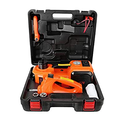 Ouya 4 in 1 12V DC 5T (11023lb) Electric Hydraulic Floor Car Jack Inflating Pump,Compact Wrench Flashlight Portable Car Repair Tool Kit Ideal Vehicle Repairing Tire Replacing