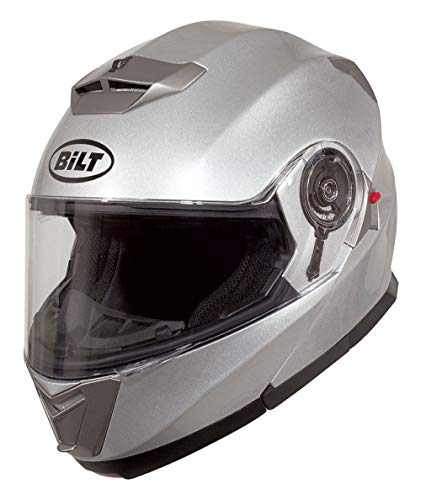 Bilt Evolution Flip Up Drop Down Sun Shield Vented DOT Sport Adventure Touring Bike Street Motorcycle Modular Helmet - Silver XL